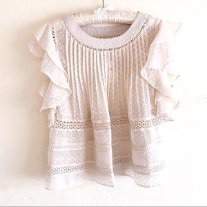 Ranna Gill Juliet Flutter-Sleeve Crochet Blouse S